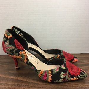 Sole Society Embroidered Floral Heels